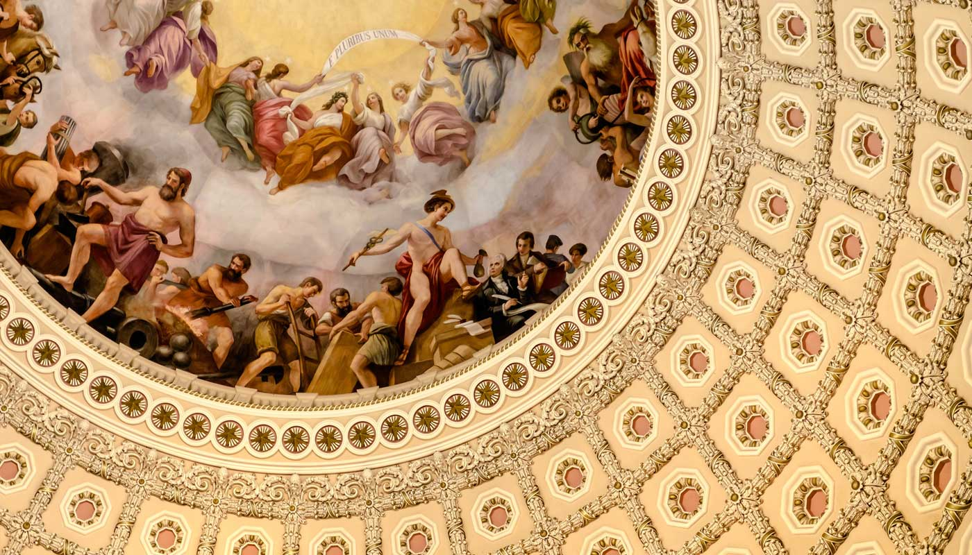 Interior of the dome of the Basilica of the National Shrine of the Immaculate Conception